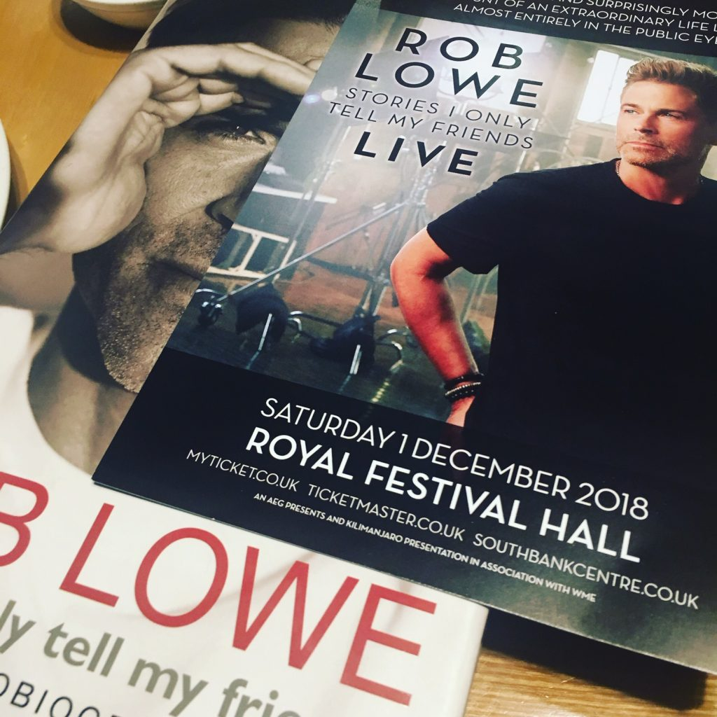Rob Lowe's Southbank Centre advert resting on top of his Stories I Only Tell My Friends book